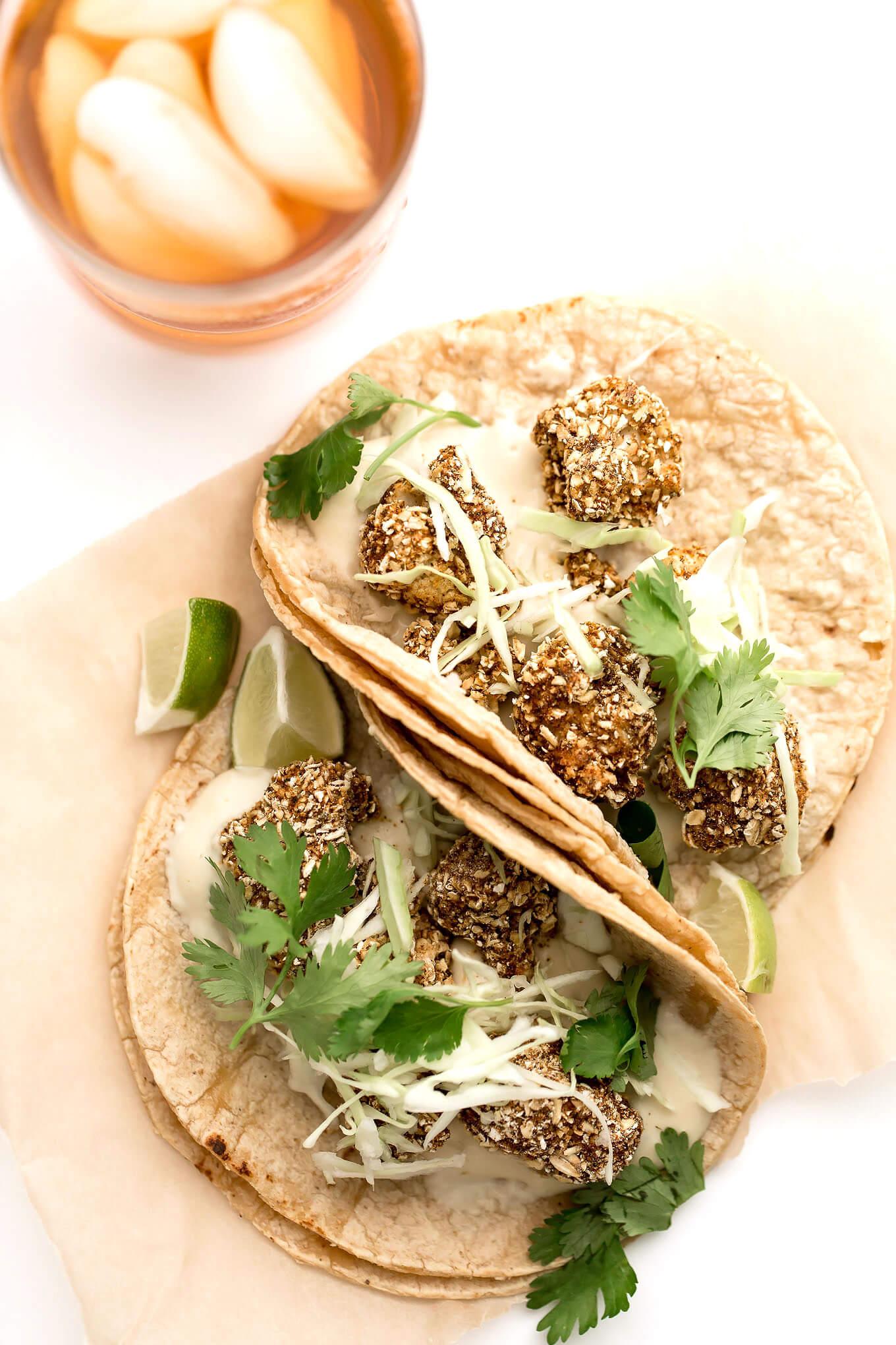 Vegan Crispy Cauliflower Tacos with Cashew Mozzarella