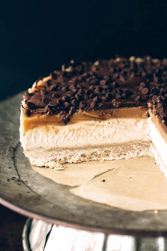 Vegan Peanut Butter Caramel Chocolate Cheesecake