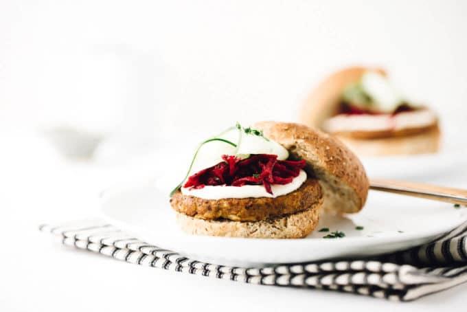 Vegan Power Burger with Beet Slaw + Horseradish Sauce