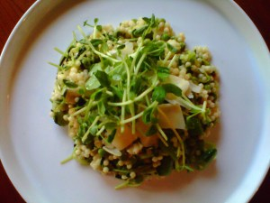 Israeli Couscous with Peas, Pea Shoots, and Sugar Snap Peas