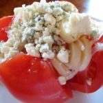 Tomato, Onion, and Hearts of Palm Salad with Bleu Cheese