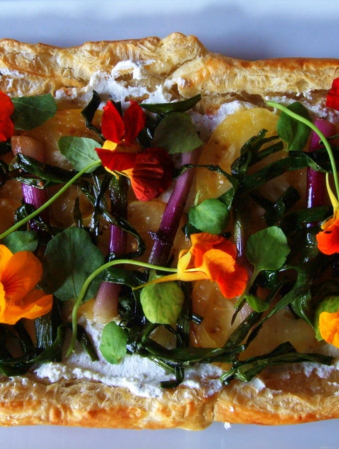 Purple Spring Onion and Golden Tomato Tart