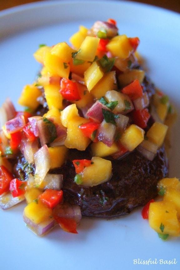 Cinnamon-Spiced Portobello Tenderloin with Mango-Jalapeño Salsa