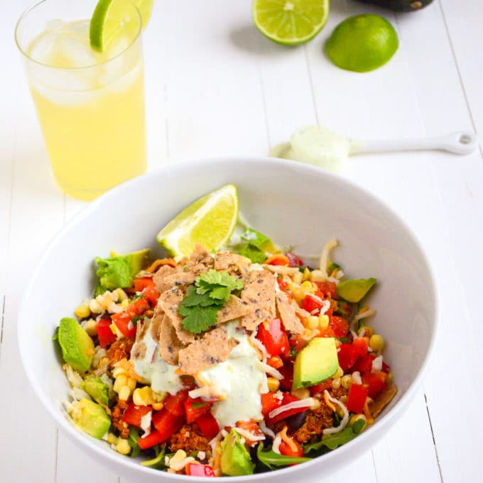 High Protein Vegetarian Taco Salad