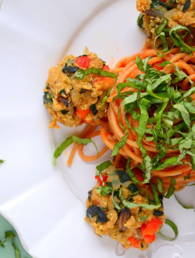 Quinoa, Spinach + Mushroom Meatballs