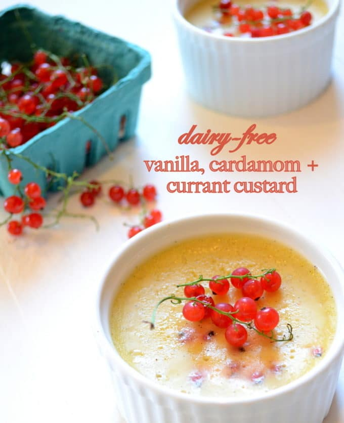 Vanilla, Cardamom, and Currant Custard