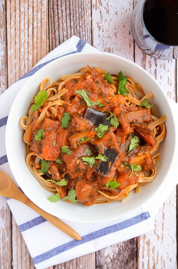 Eggplant Tomato Pasta
