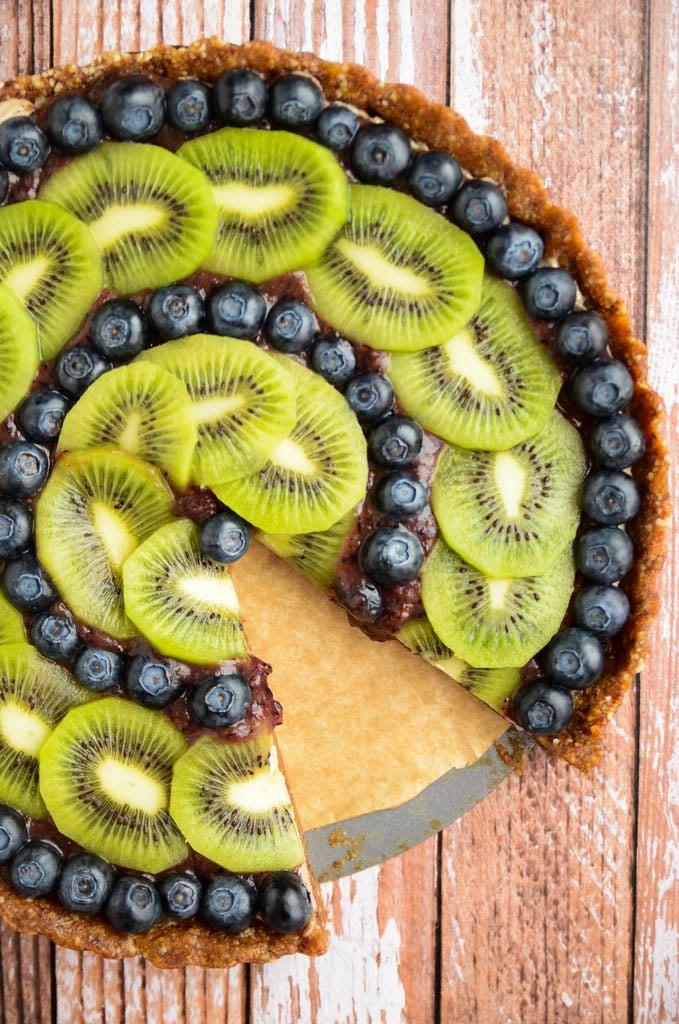 Raw Kiwi Blueberry Tart
