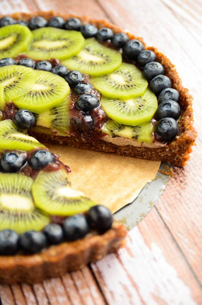 Raw Kiwi Blueberry Tart