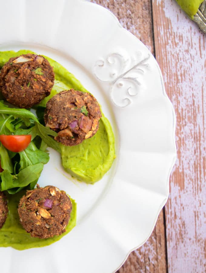 Black Bean Balls + Avocado-Cilantro Cream