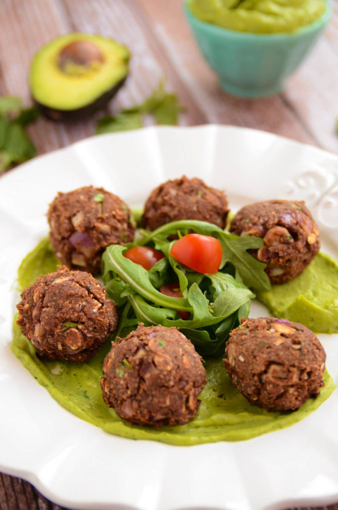 Black Bean Balls with Avocado Cilantro Cream