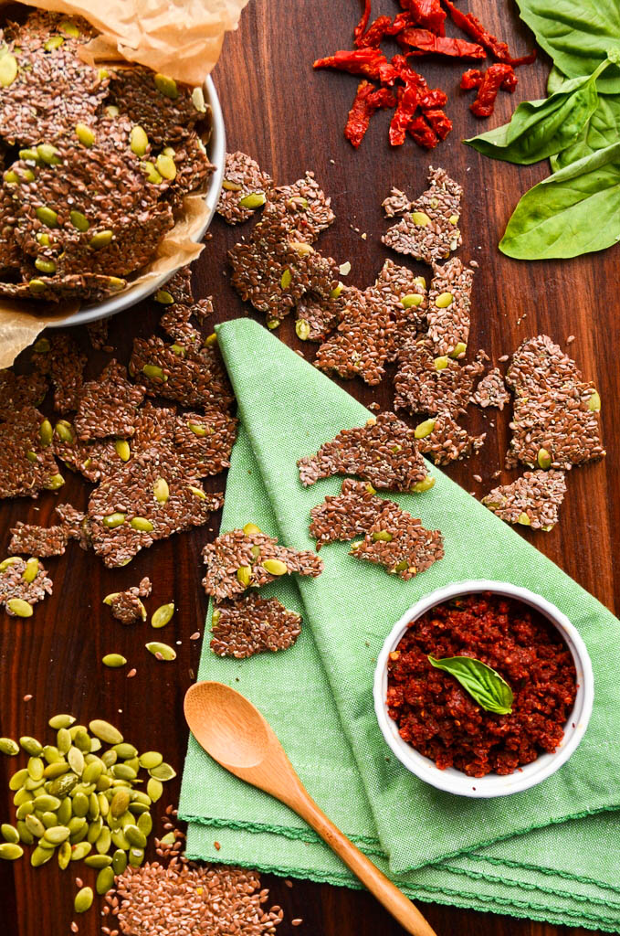 Flax and Pepita Crackers with Sundried Tomato Spread
