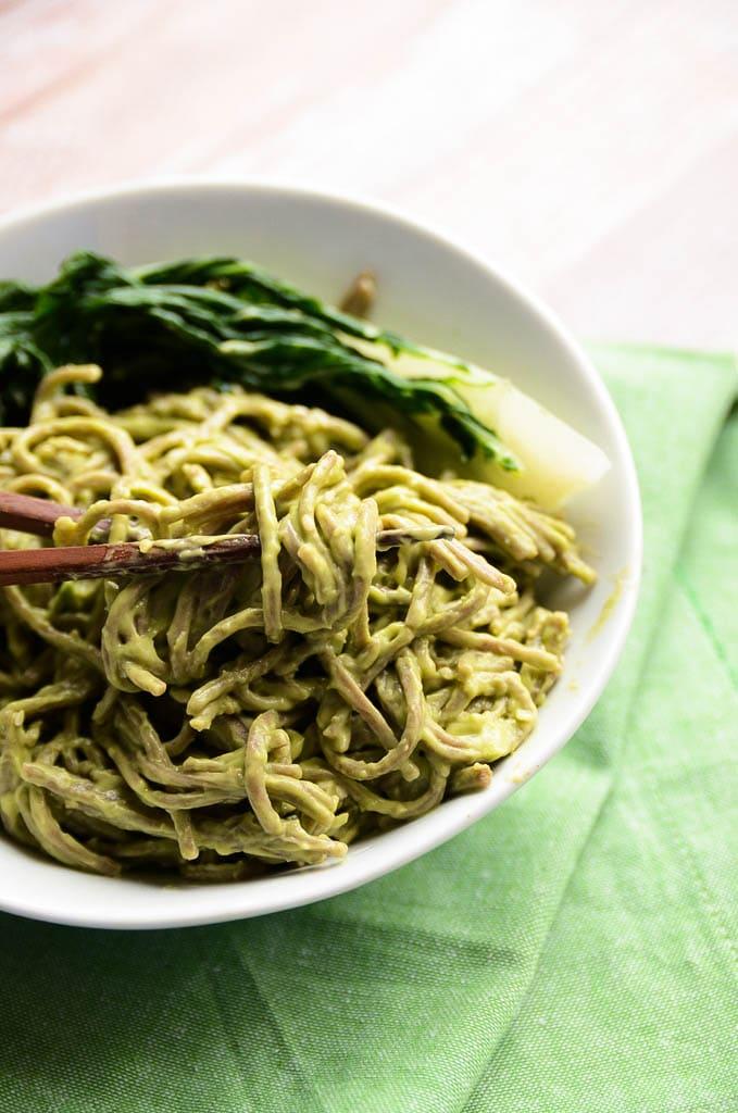 Vegan Creamy Sesame-Avocado Soba Noodles