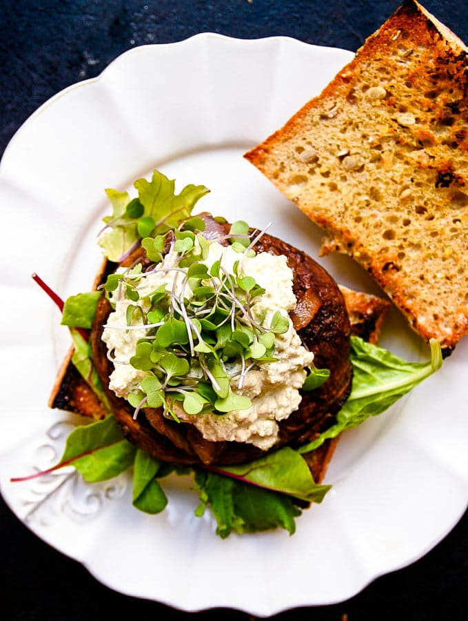 Juicy Portobello Burgers with Vegan Blue Cheese & Caramelized Onions