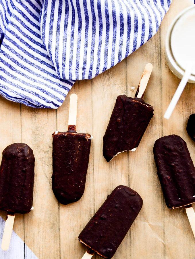 Five Ingredient Chocolate-Covered Ice Cream Bars | Vegan, Paleo, Gluten-Free