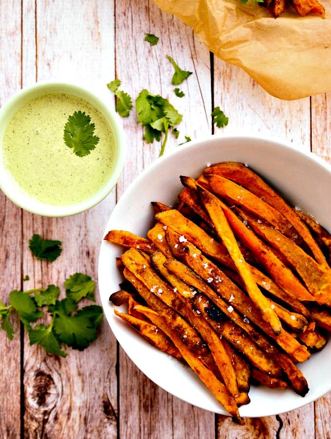 Sweet Potato Fries with Cilantro & Hemp Seed Aioli   Vegan & Gluten-Free