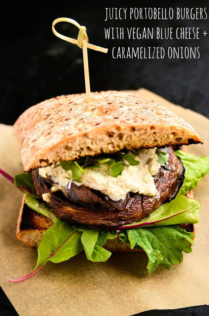 Juicy Portobello Burger with Vegan Blue Cheese and Caramelized Onions