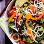 Colorful Jicama Noodle Salad with Creamy Tahini-Ginger Dressing | Vegan