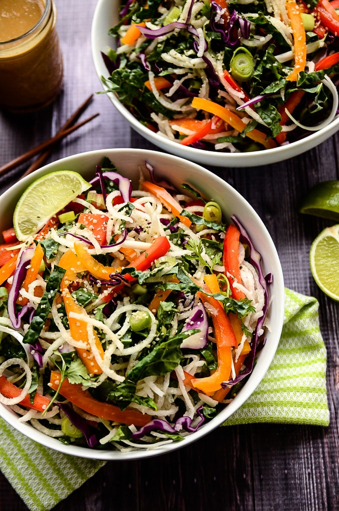 Jicama Noodle Salad with Creamy Tahini-Ginger Dressing