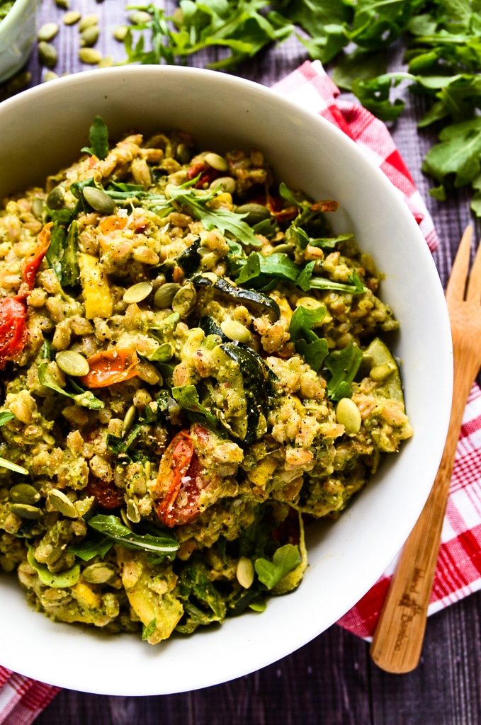 Pesto Farro Salad with Roasted Summer Vegetables