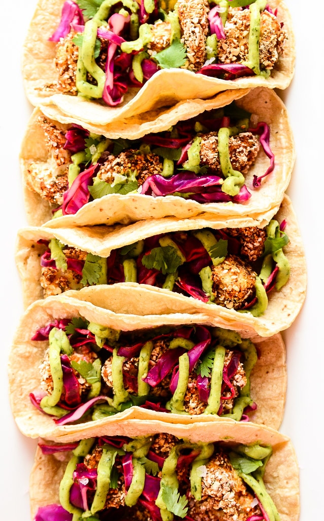 Crispy Cauliflower Tacos with Tangy Slaw & Avocado Cream