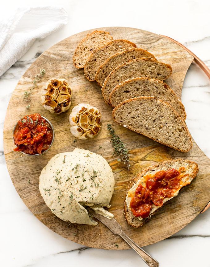 Herbed Vegan Cashew Cheese with Spicy Tomato Jam