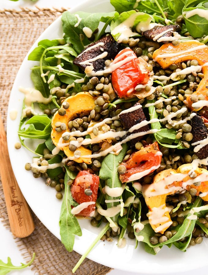 French Lentil & Roasted Vegetable Salad with Creamy Tahini Dressing