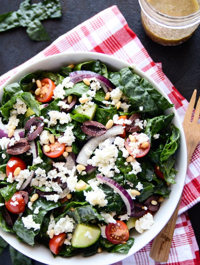 Vegan Green Salad with Kale & Cauliflower Feta