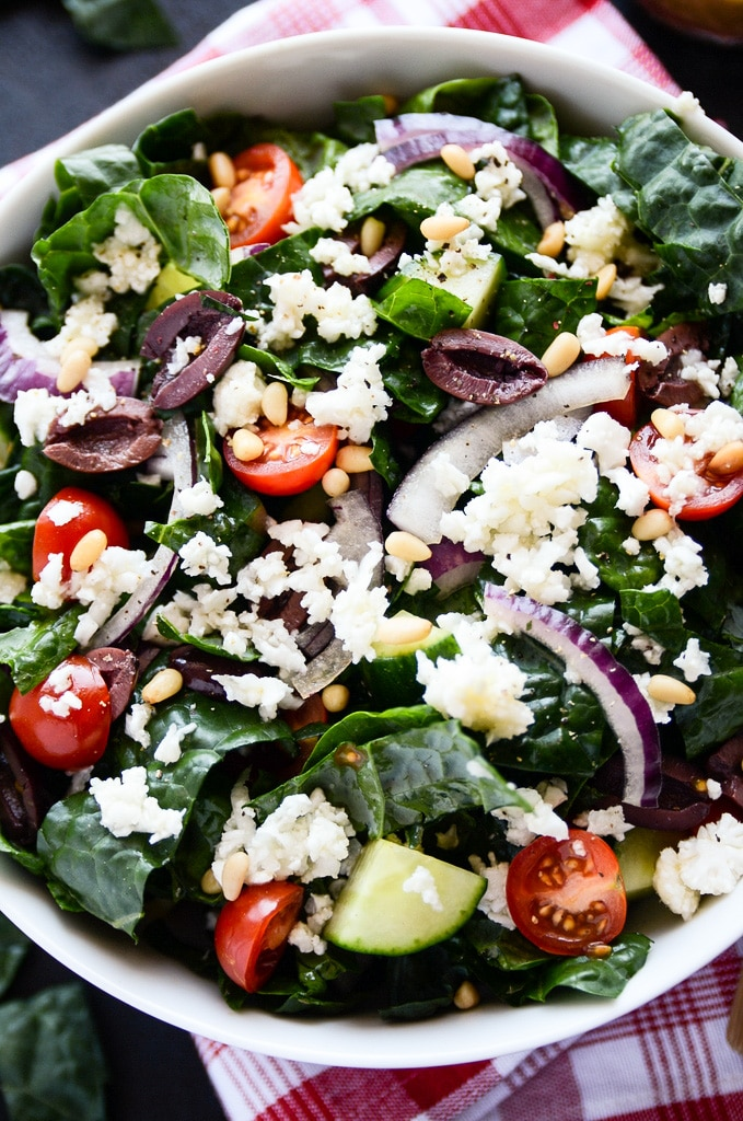 Vegan Greek Salad with Kale & Cauliflower Feta