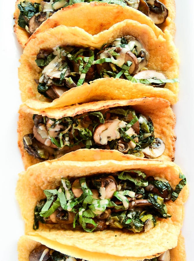 Vegan Crêpe Tacos with Warm Spinach-Mushroom Filling