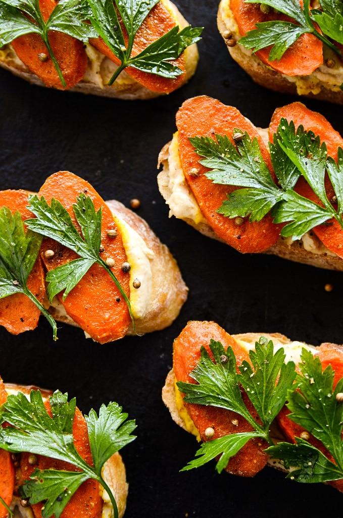 Curried Carrot & Lemony Hummus Crostini