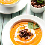 Carrot, Lentil & Squash Soup with Walnut Croutons