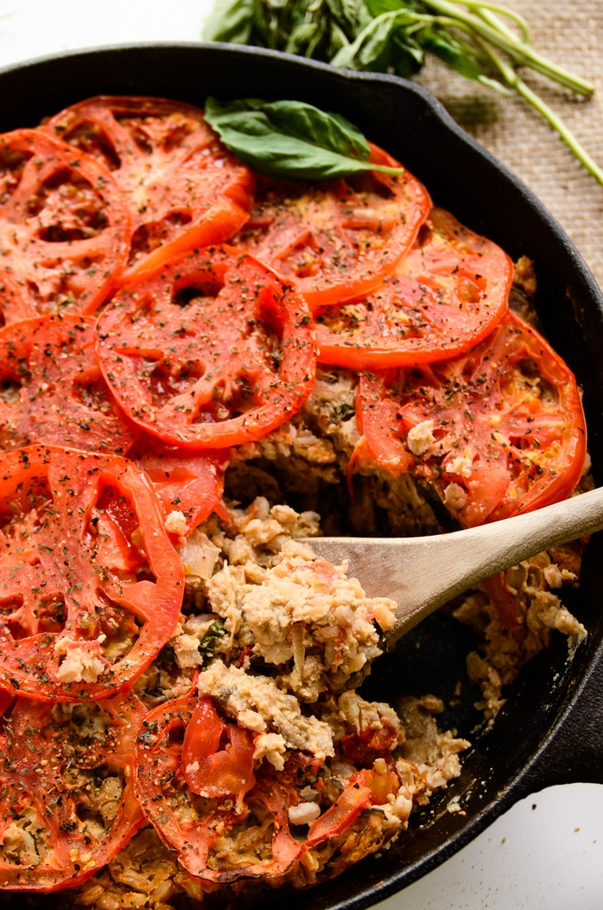 Cheesy Farro Bake with Mushrooms, Tomatoes and Shallots