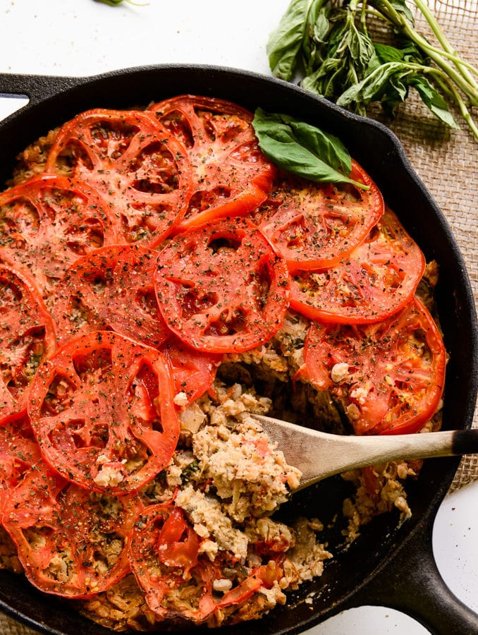 Cheesy Farro Bake with Mushrooms, Tomatoes & Shallots