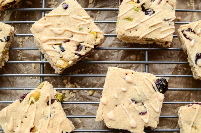 Cranberry + Pistachio Shortbread Bars with Almond Icing