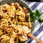 Creamy Carbonara Pasta with Shiitake Bacon | vegan, gf