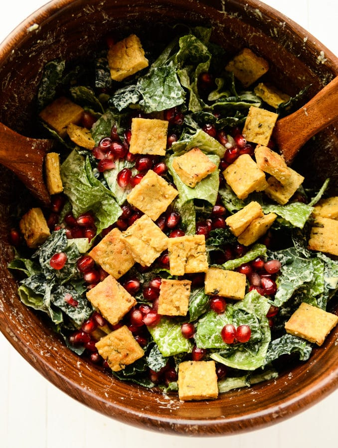 Holiday Caesar Salad with Hemp Seed Dressing, Protein Croutons & Pomegranate Seeds (vegan, gluten-free)