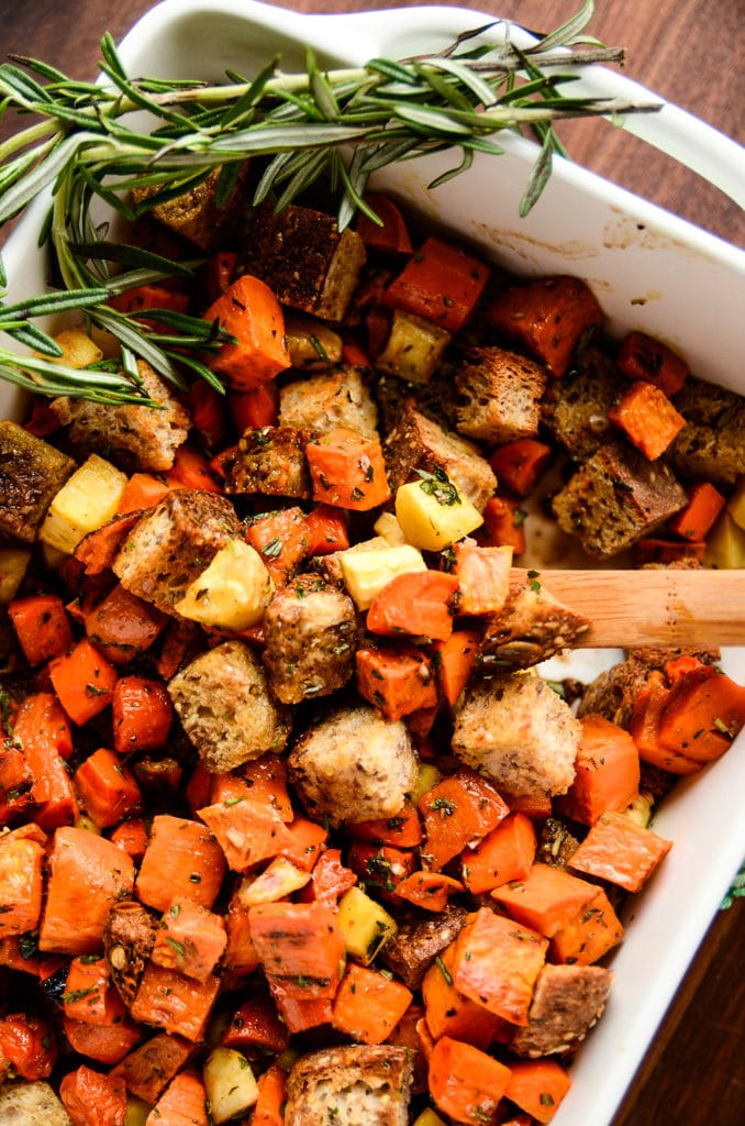 Root Vegetable Panzanella with Balsamic-Herb Dressing