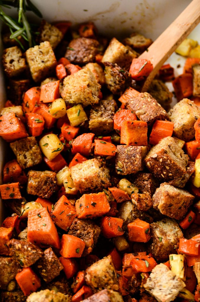 Root Vegetable Panzanella Salad with Balsamic-Herb Vinaigrette