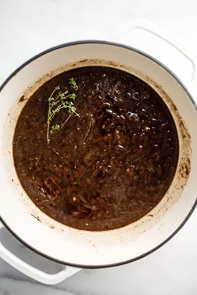 Vegan French Onion Soup Soy Sauce Balsamic Thyme