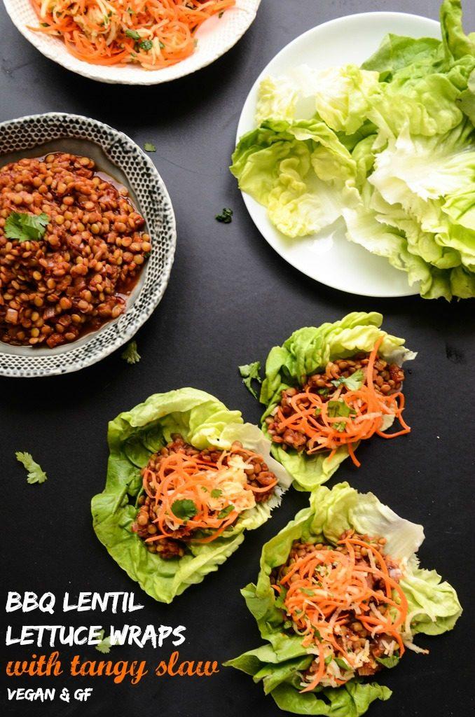 BBQ Lentil Lettuce Wraps with Tangy Slaw (vegan, gluten-free)