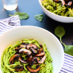 Lean Green Avocado-Spinach Pesto Pasta with Sautéed Mushrooms (vegan, gf)