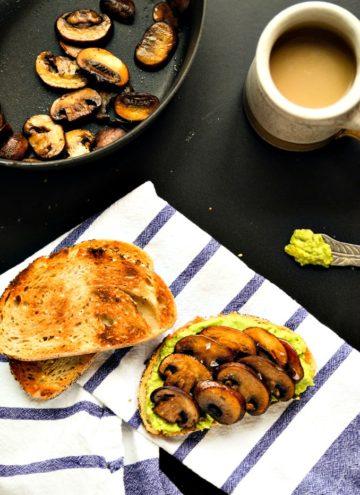 Smashed Avocado and Sauteed Mushroom Toast