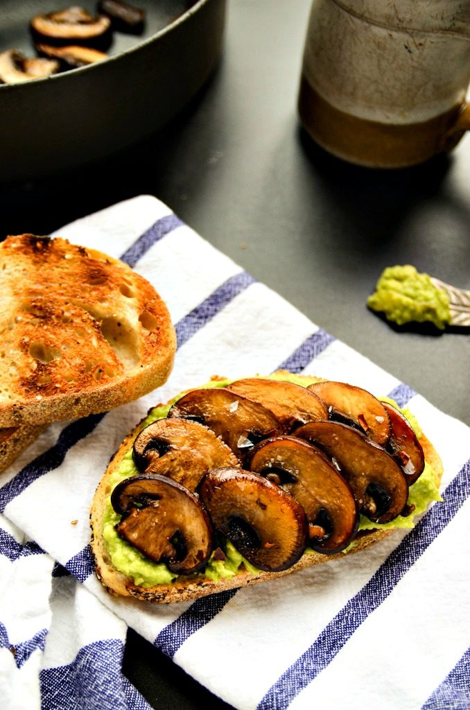 Smashed Avocado and Sauteed Mushroom Toast