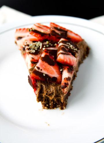 Triple-Chocolate and Strawberry Cheesecake (vegan, gluten-free)