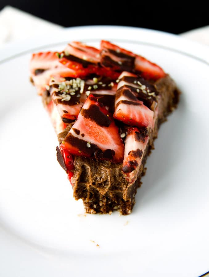 Triple-Chocolate and Strawberry Cheesecake (vegan, gluten-free)