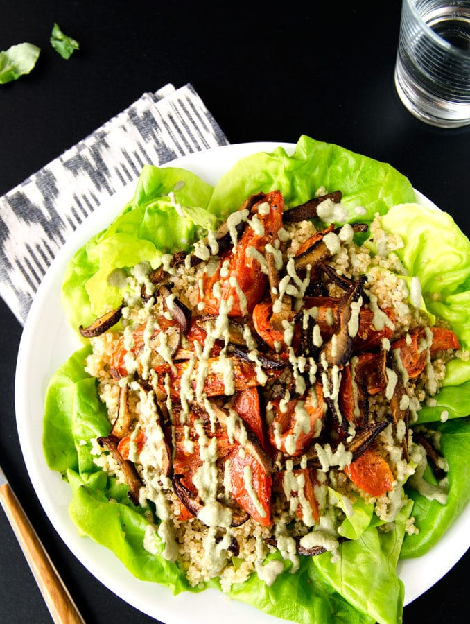 Vegan BLT Salad with Shiitake Bacon, Lettuce & Roasted Tomatoes