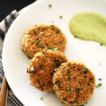 Crispy Quinoa Cauliflower Cakes with Herbed Brazil Nut Cream