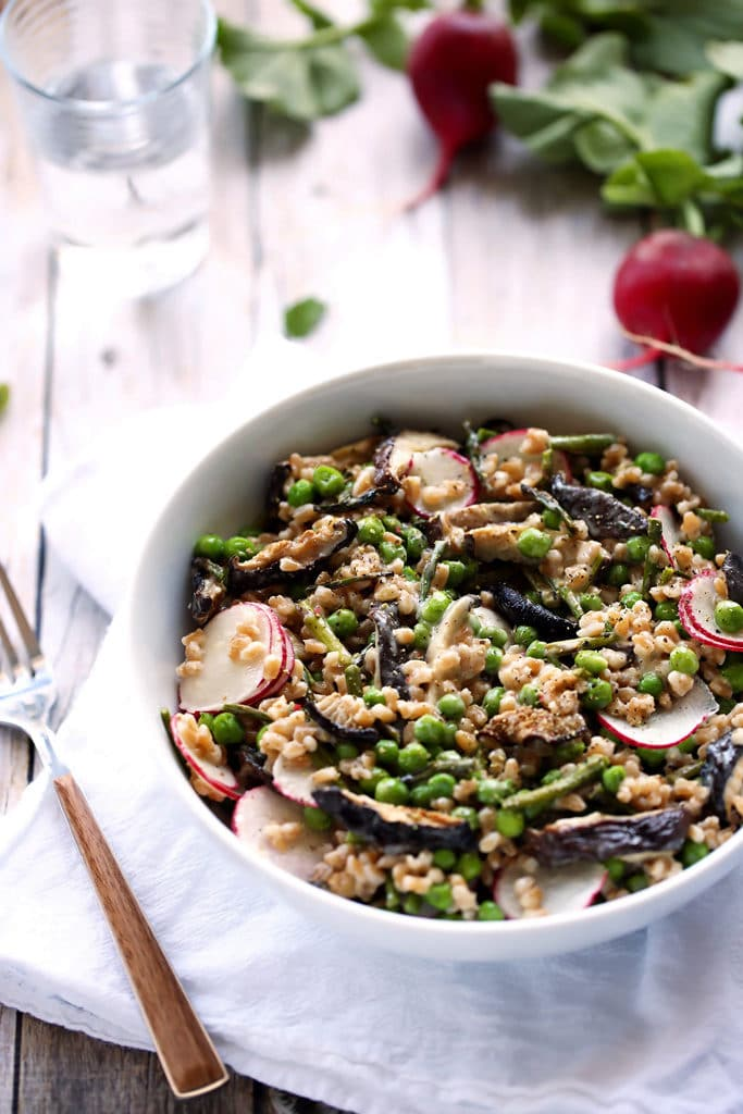 Spring Farro Salad with Roasted Garlic Vinaigrette