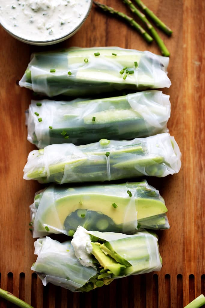 Spring Green Vegetable Rolls with Herbed Tzatziki